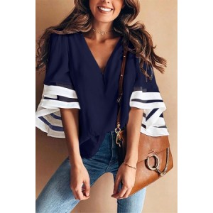 Blue Contrast Color Flare Sleeve V Neck Loose Blouse