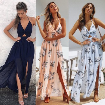 Boho Maxi Long Dress Evening Party Beach Dresses Sundress Floral Halter Blue Pink