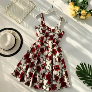Floral Print Vintage Spaghetti Strap Summer Mini Short Dress Party Polka Dot Casual White Red Apricot Blue Black