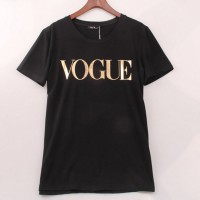 O-Neck Short Sleeve Summer Tops Tee Trend style Rose Print Vogue Black Gray White Blue Gold