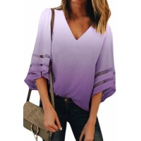 Purple Ombre Bell Sleeve V Neck Relaxing Fit Blouse Red