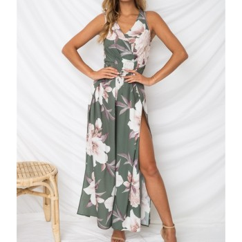 Boho Long Maxi Dress Ladies Party Evening Floral Dresss Sundress Women V Neck Blue Green Pink White
