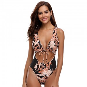 Lacing String Bandage Swimsuit Joint African Print Black