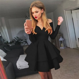 Long Sleeve Business Basic Party Club Mini Dress Skate Black Red White
