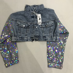 Punk Style Women Spring Jacket Coat Sequins Sleeve Women Denim Long Jacket Coat Crop Tops Blue