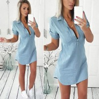 Summer Short Sleeve Solid Denim Dress Turn Down Collar Mini dress Blue