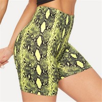 Summer Shorts New Snake Print High Waist Green Purple Yellow