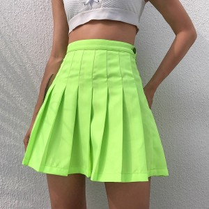 Neon Green Solid High Waist Pleated Skirt Mini Sexy Summer A Line