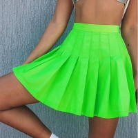 Reflective Pleated Skirt Women High Waist Sexy Mini Party Summer Causal Neon Green Short Grey