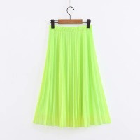 Women Fluorescent Green Pleated Tulle Skirt Neon Skirt Summer Bright Elastic Waist Knee-Length Mesh Skirt