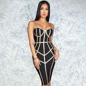 Bandage Dress Women Sexy Spaghetti Strap Sleeveless Black Red White Yellow Blue