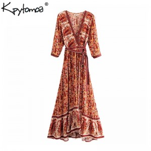 Floral Print Pleated Sashes Wrap Long Dress Women V Neck Red Purple