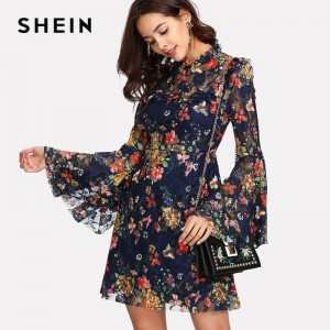 Flower Print Swing A Line Summer Dress Long Sleeve Spring Multicolor Floral Calico Print Keyhole Back Bell Sleeve Dress