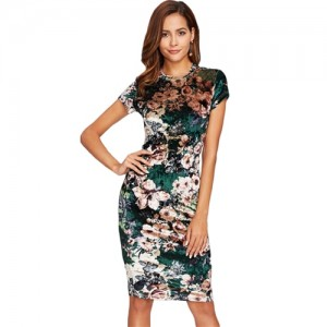 Form Fitting Floral Velvet Dress Green Sexy Women Autumn Dress Short Sleeve Knee Length Elegant Pencil Dress