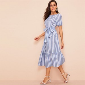Lady Pleated Detail Belted Flippy Hem Striped Maxi Dress Women Casual Cotton High Waist Puff Sleeve Summer Dress Blue