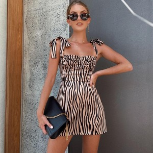 Slim Zebra Print Dress Sleeveless Adjustable Spaghetti Strap Brown