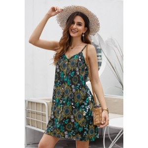 Black Floral Pattern Buttoned Slip Cami Dress
