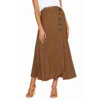 Brown Buttoned Maxi Skirt Blue Black