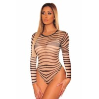 Nude Black Sheer Mesh Swirl Illusion Bodysuit