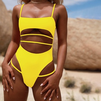 Sexy Thong One Piece Swimsuit 2019 Women Solid Bandage Bathing Suit Swimwear Yellow Pink Black Blue High Waist Cut Out Monokini