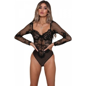 Black Long Sleeve Underwire Lace Bodysuit White