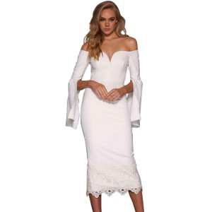 Black Split Bell Sleeve Off Shoulder Midi Dress White
