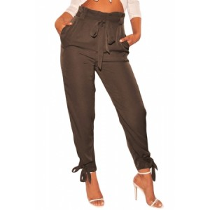Brown High Waist Belted Tie Up Leg Pants Black