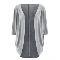 Casual Pure Color 3/4 Sleeve Loose Collarless Cardigan For Women - Gray