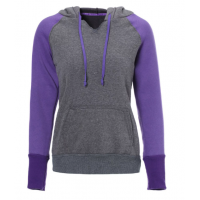 Casual Style Hooded Long Sleeve Spliced Front Pocket Design Pullover Hoodie For Women - Purple Gray