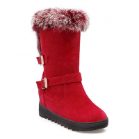 Faux Fur Buckles Hidden Wedge Snow Boots - Brown Red