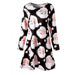 Plus Size Santa Claus Print Mini Swing Dress - Black