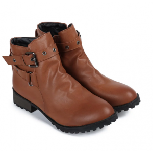 Fashionable Women's Ankle Boots With Cross Straps and Zipper Design - Brown