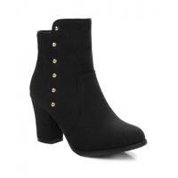 Suede Zipper Dome Stud Ankle Boots - Black
