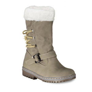 Tie Up Buckle Strap Mid Calf Boots - Khaki