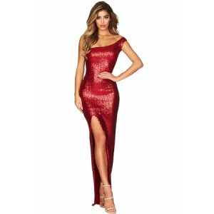 Black One Shoulder High Split Sequined Gown Dress Blue Red