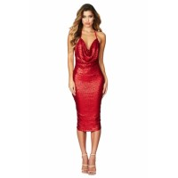 Black Seductive Sequin Midi Club Dress Red