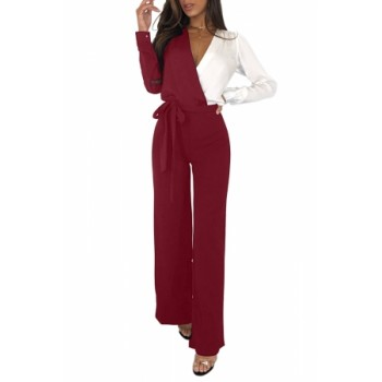 Black White Asymmetric Wide Leg Jumpsuit Red Blue