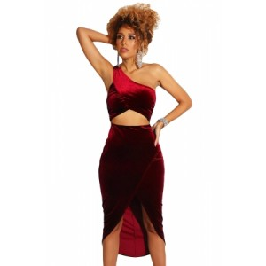 Burgundy False-2-pc One Shoulder Velvet Dress Black