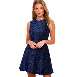 Shine The Way Black Sleeveless Skater Dress Blue