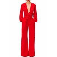 Black Lantern Sleeve Belted Wide Leg Jumpsuit Blue Red