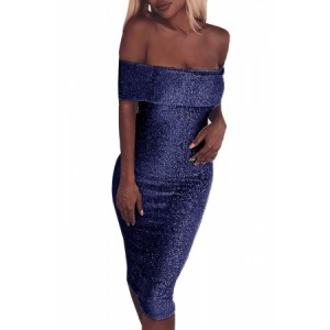 Black Sparkle Fold Over Off Shoulder Bodycon Dress Blue Pink