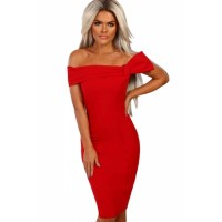 Pink Bow Detail Bardot Bodycon Midi Dress Black Red
