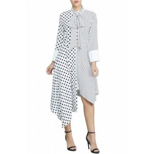 White Polka Dot Asymmetric Vintage Dress Black