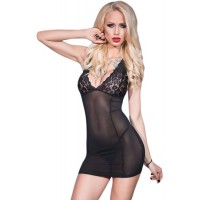 Black V Neck Lace Mesh Chemise