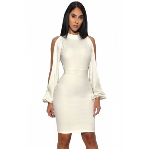 White Cut Out Sleeve Stretch Crepe Bandage Party Dress