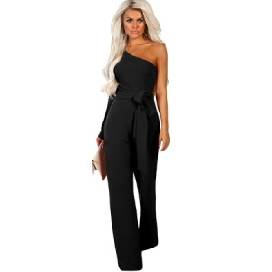 Black Asymmetric One Shoulder Wide Leg Solid Jumpsuit Blue