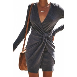 Gray Long Sleeve Ribbed Twist Mini Dress