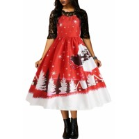 Jingle All The The Way Christmas Print Flared Dress
