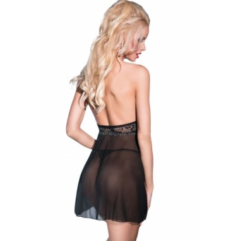 Lace Tulle Embroidered Babydoll with Thong