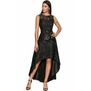 Royal Blue Sleeveless Lace Overlay Bow Sash Party Dress Black